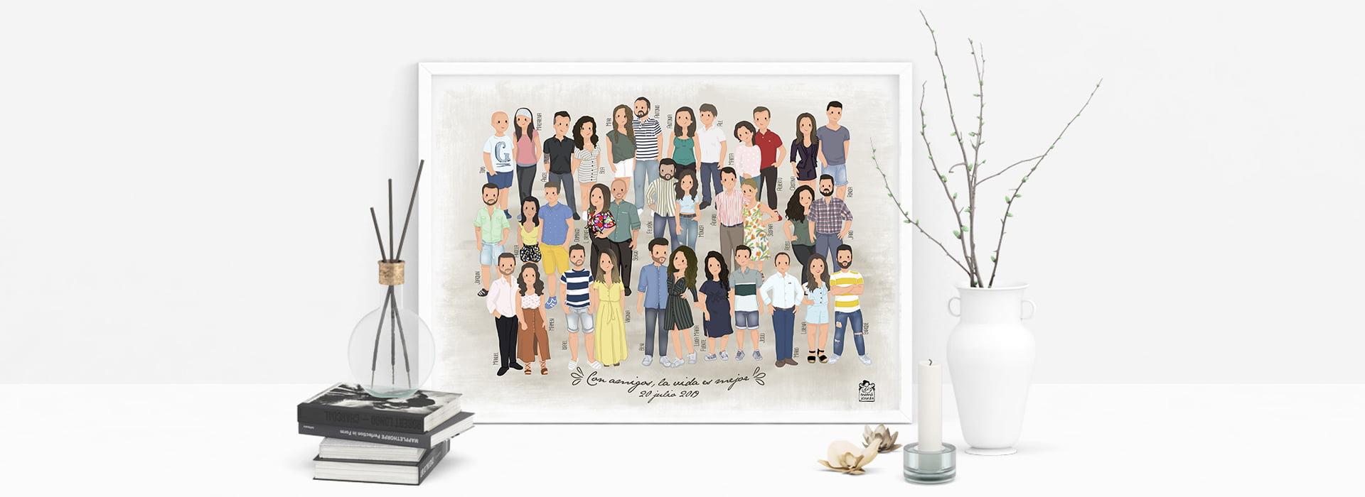 dibujo personalizado amigas familia